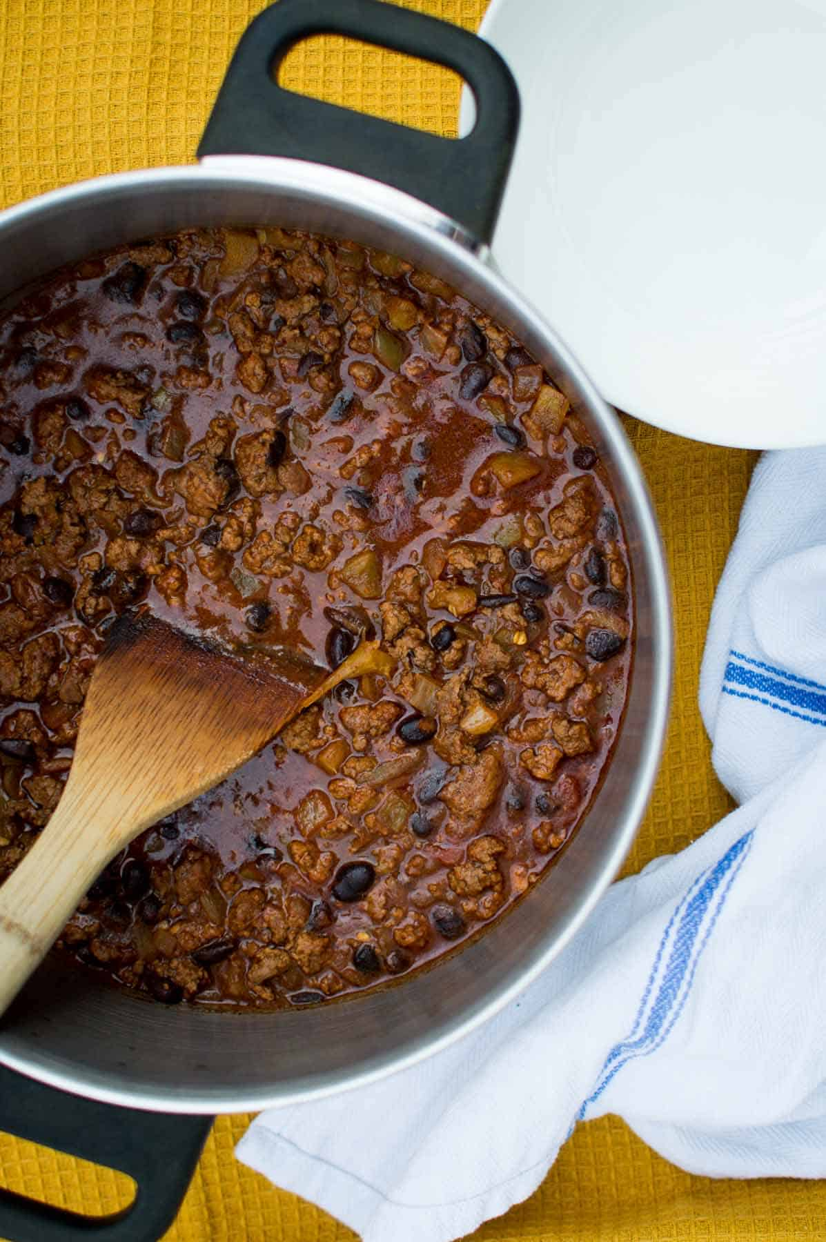 Pot of Quick and Easy Black Bean Chili
