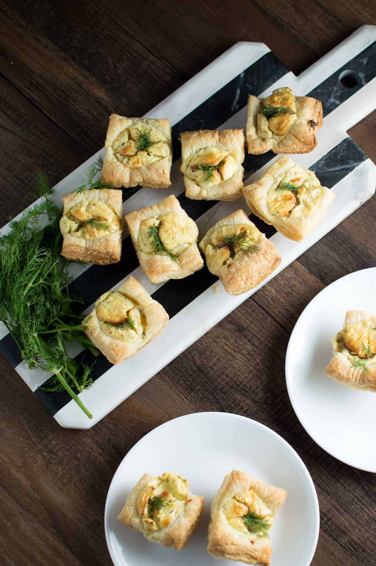 Goat Cheese and Dill Tarts on Cheese Board