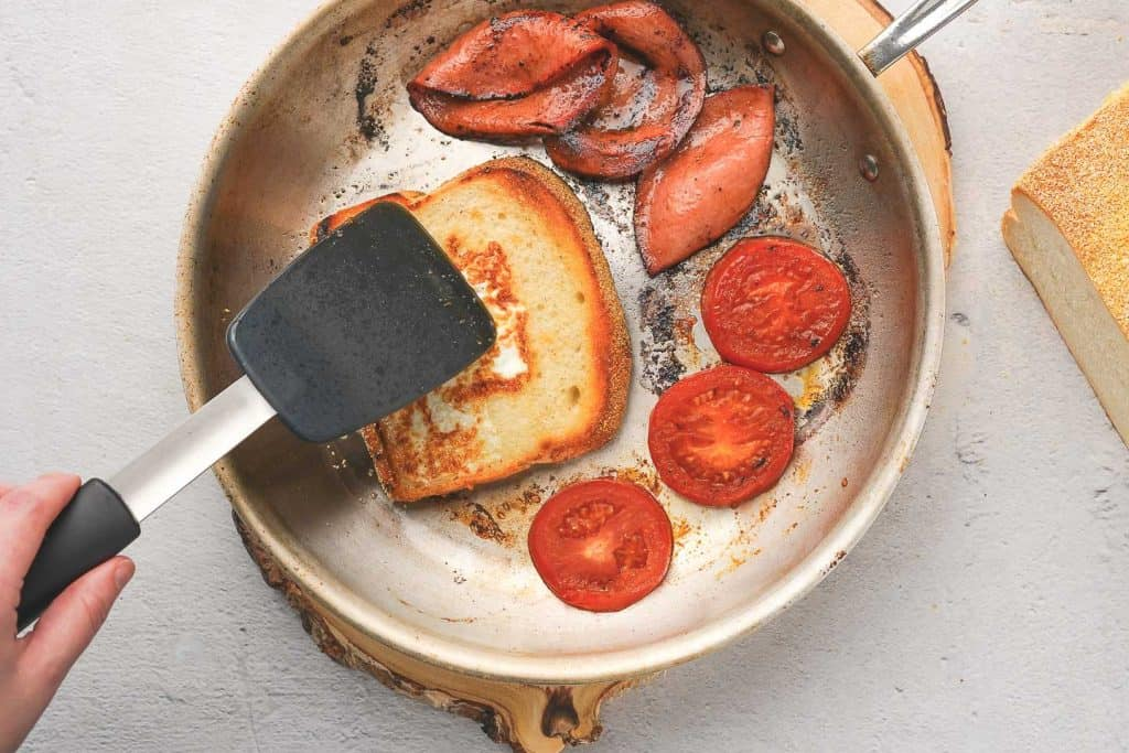 Fried Bologna, Bread and Tomatoes in Pan