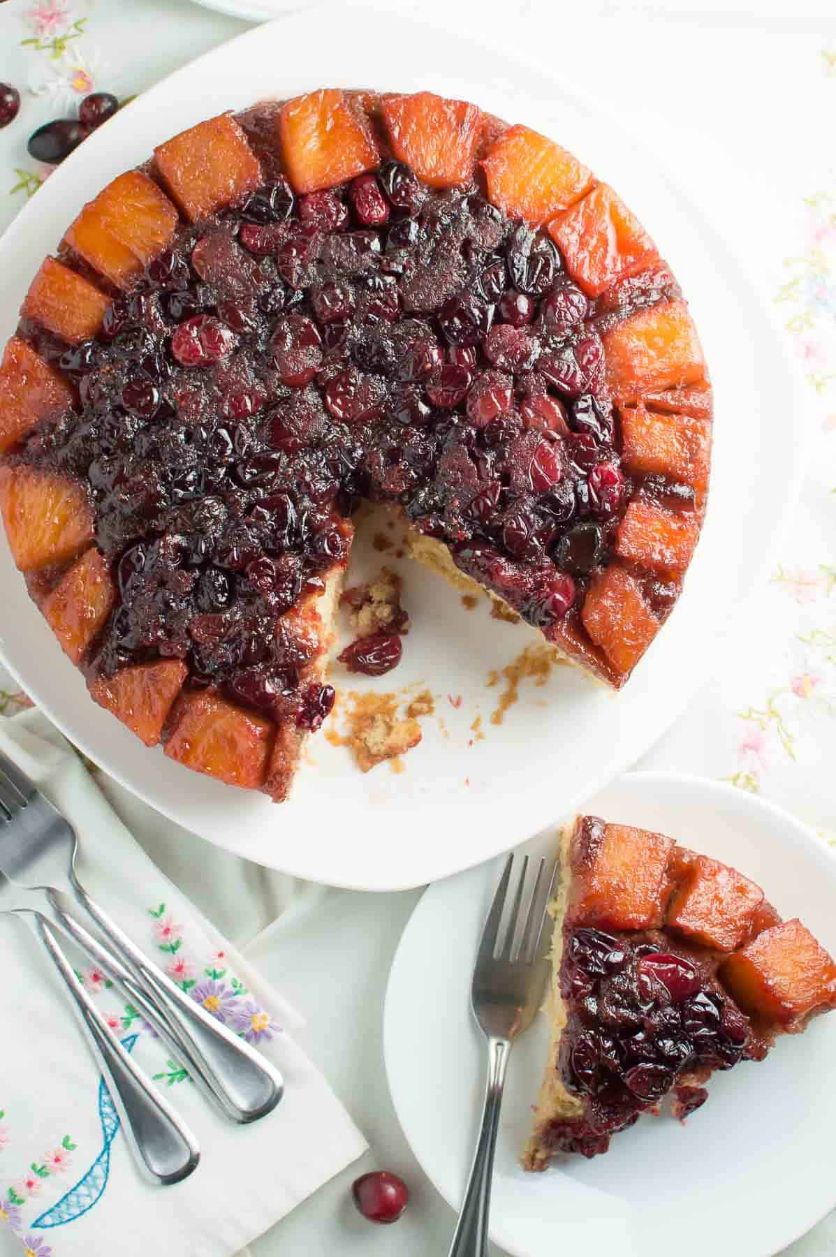 Cranberry Pineapple Upside Down Cake with piece cut out