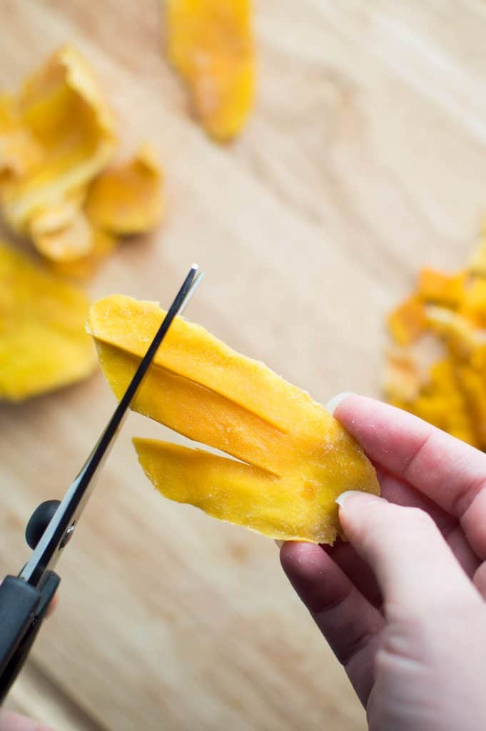 Cutting Dried Mango with Kitchen Shears