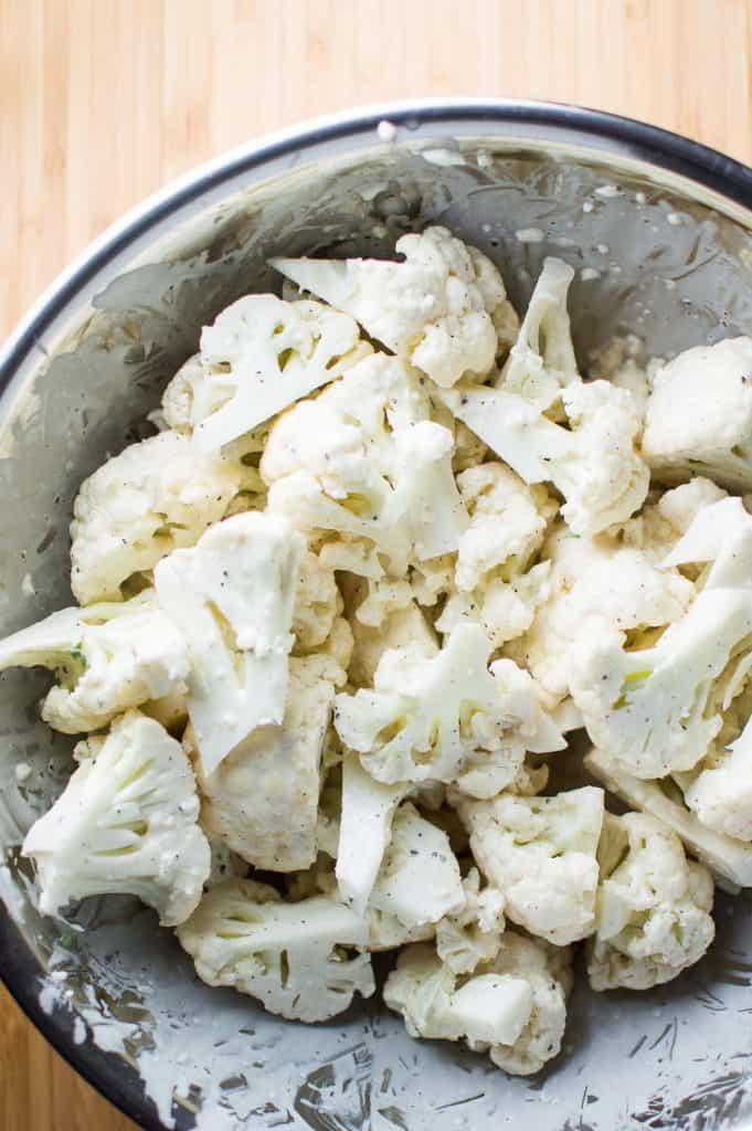 Cilantro Lime and Garlic Cauliflower before Roasting
