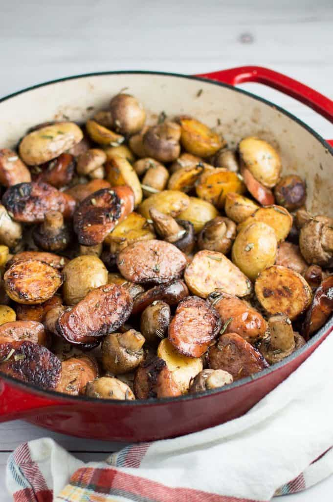 Rosemary Brown Butter Sausage Skillet Closeup