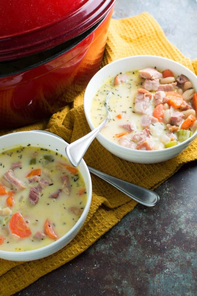 Ham and White Bean Chowder in 2 Bowls