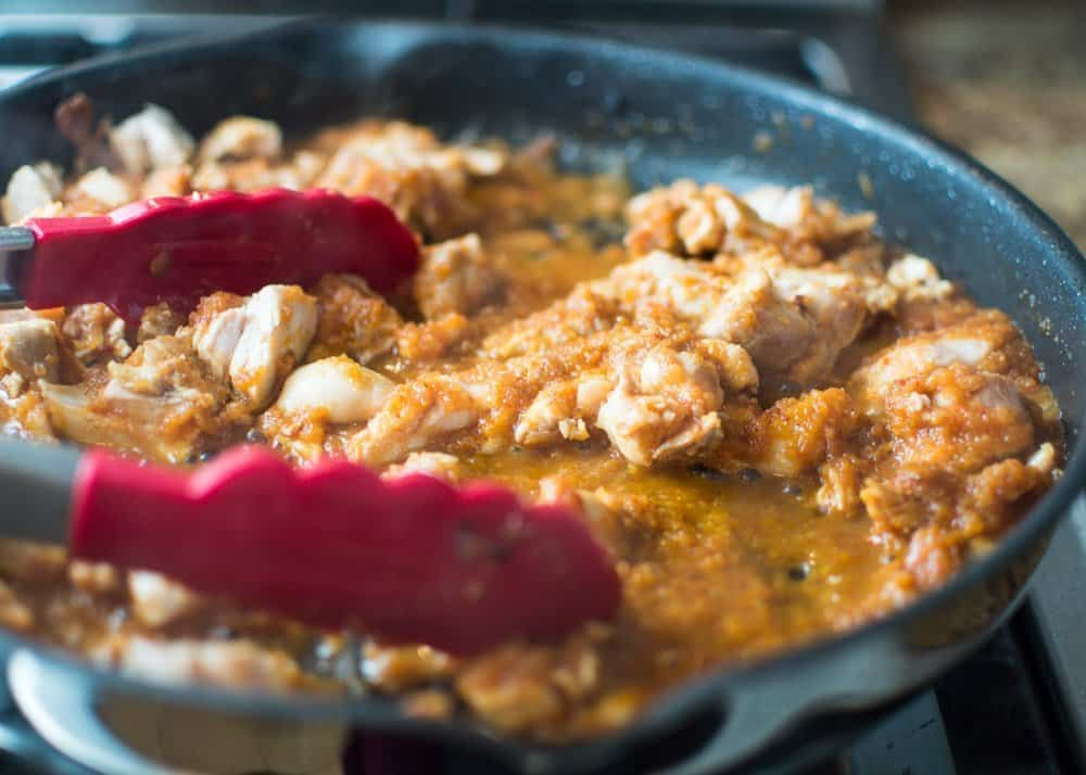 30 Minute Chipotle Chicken Cooking in Pan