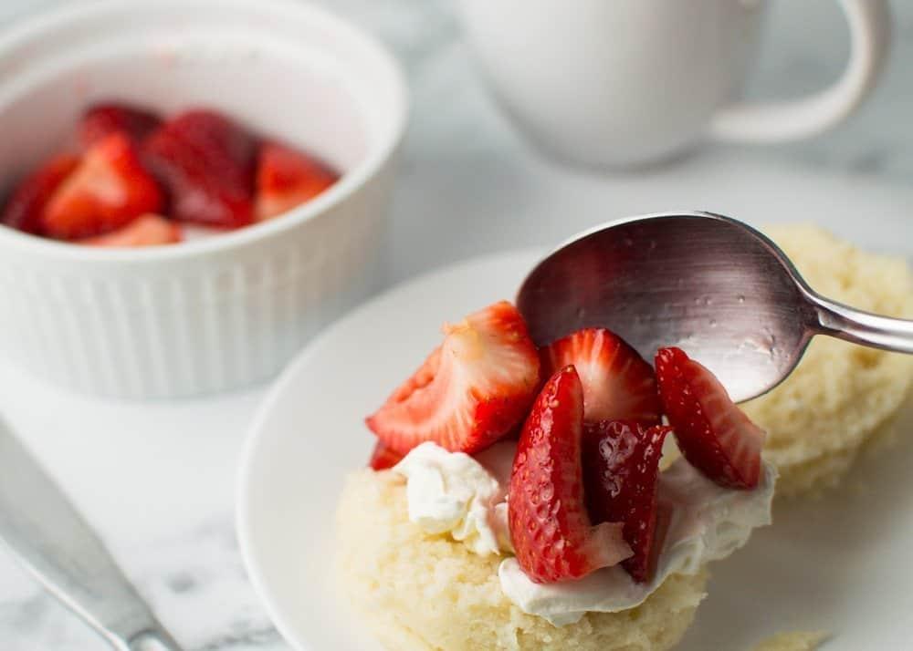 Assembling the Strawberry Shortcake Mug Cake