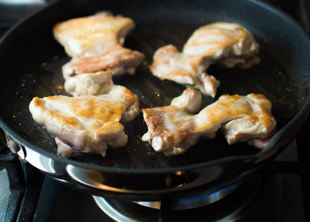 Chicken Browning in the Pan