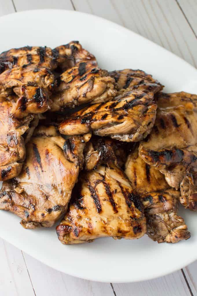 Easy Balsamic Marinated Grilled Chicken on Platter