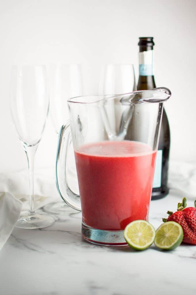 Strawberry Honey Lime Mimosa Juice in Pitcher