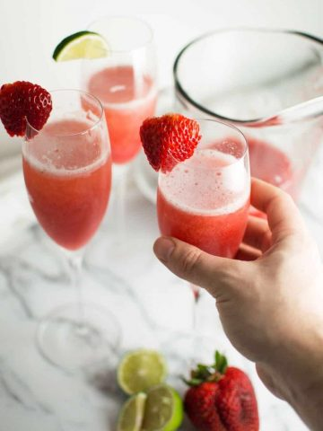 Strawberry Honey Lime Mimosas Ready to Drink