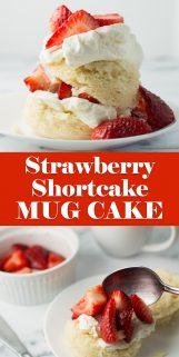 Strawberry Shortcake Mug Cake on plate with spoon