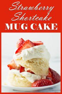 Strawberry Shortcake Mug Cake on Plate Side View
