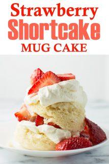 Strawberry Shortcake Mug Cake side view on plate