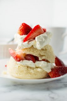 Strawberry Shortcake Mug Cake on a Plate