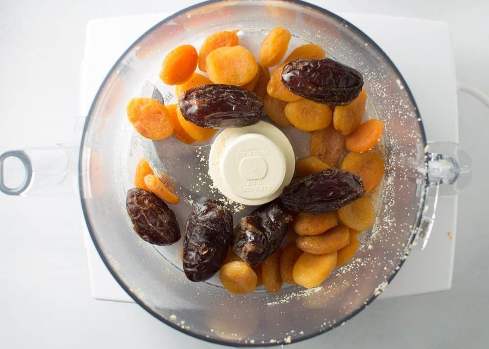 Apricots and Dates in Food Processor