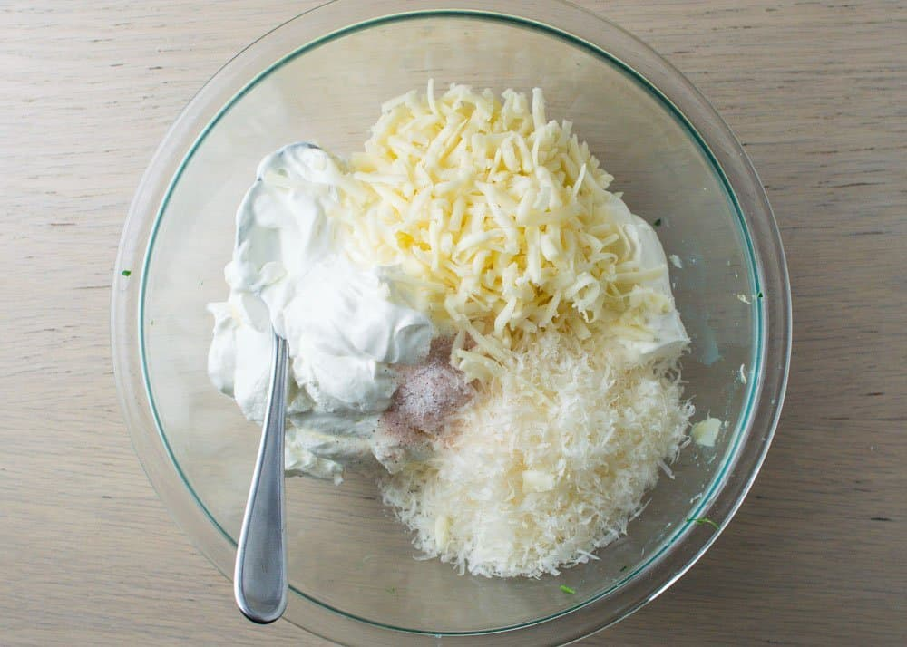 Cheeses and Sour Cream in Bowl