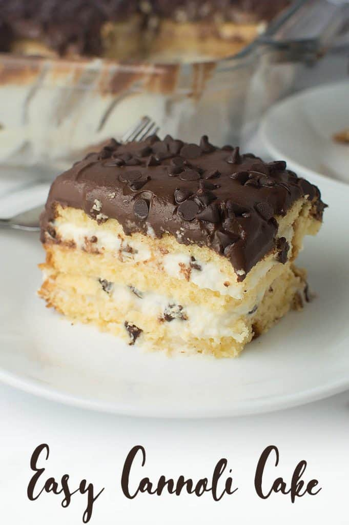 Easy Cannoli Cake on Plate close up view