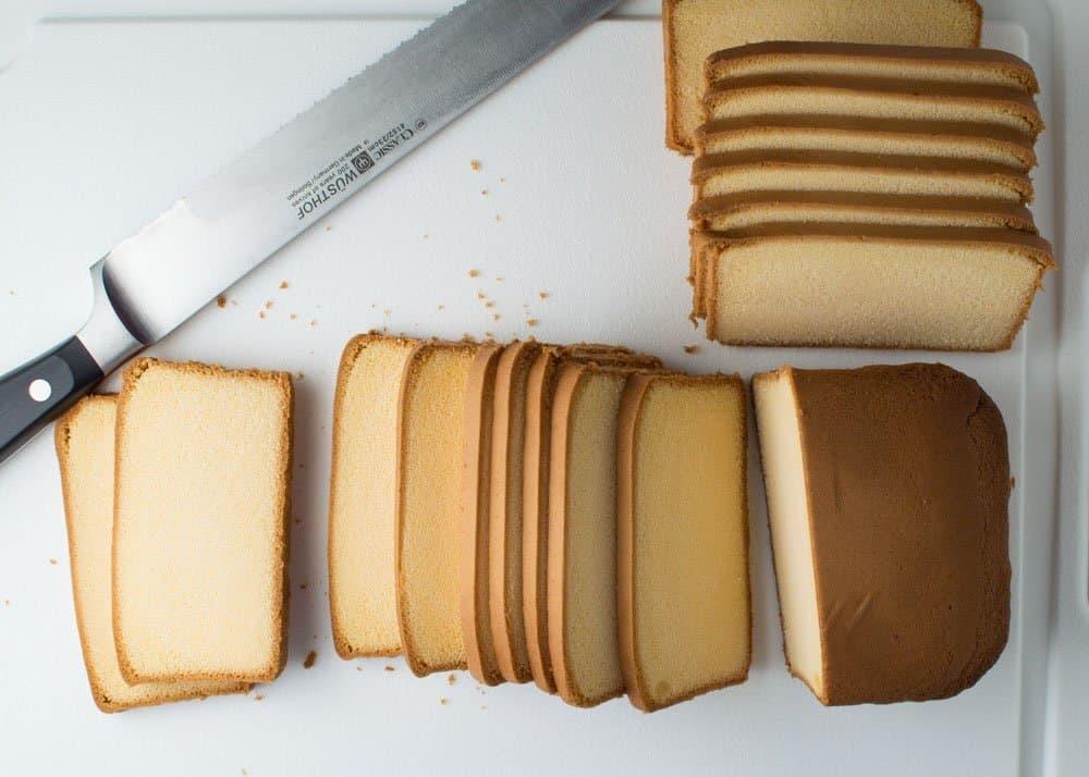 Pound Cake Sliced on Cutting Board