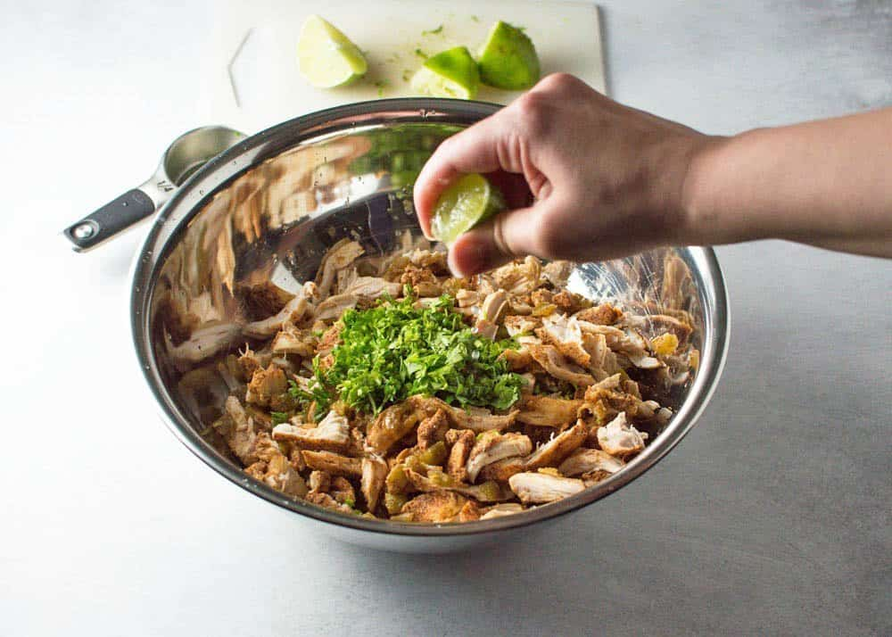 Adding Cilantro and Lime to Slow Cooker Shredded Chile Chicken