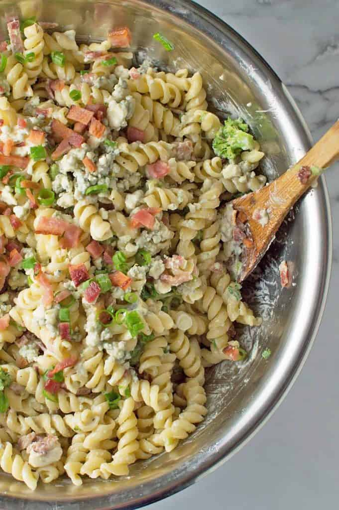 Bacon Blue Cheese Pasta Salad Close Up