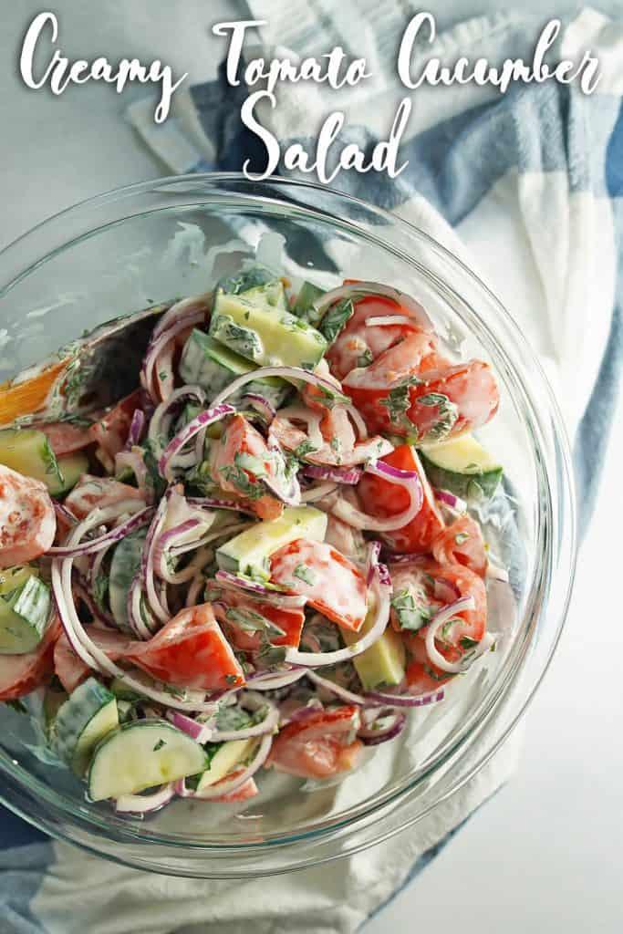 Creamy Tomato Cucumber Salad Pin