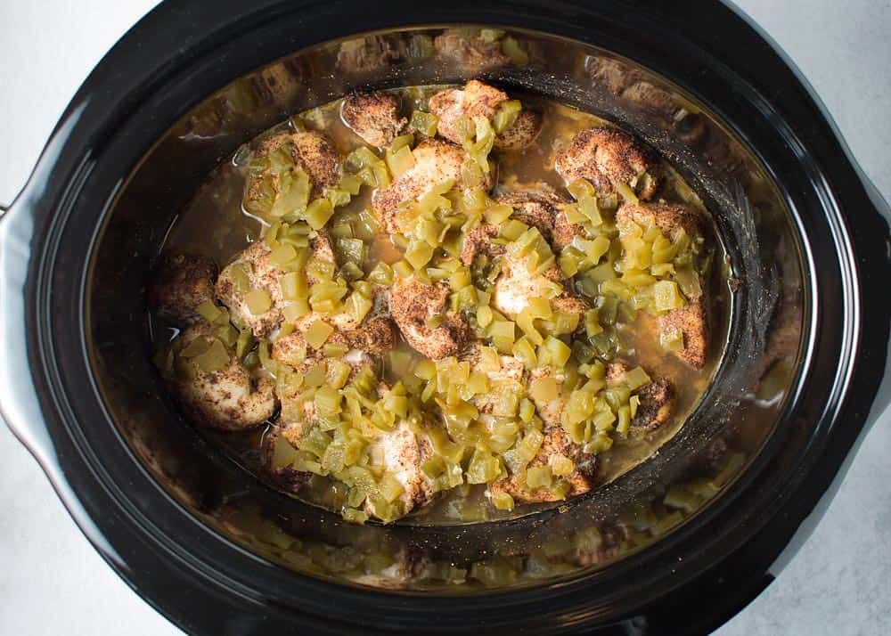 Slow Cooker Shredded Chile Chicken Finished Cooking