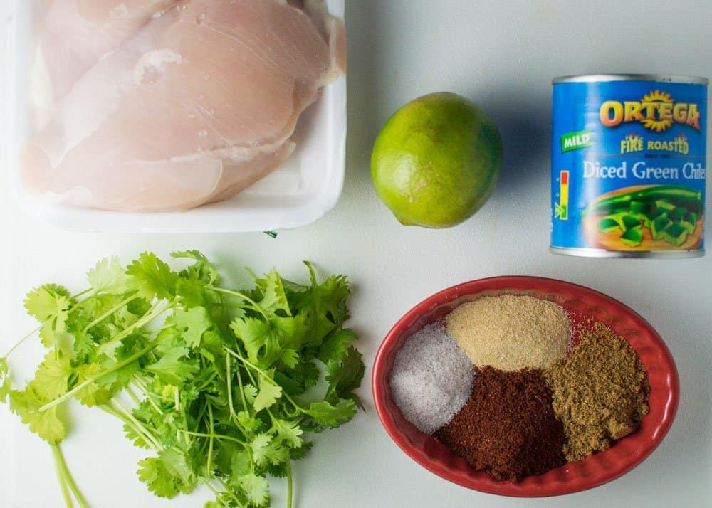 Slow Cooker Shredded Chile Chicken Ingredients