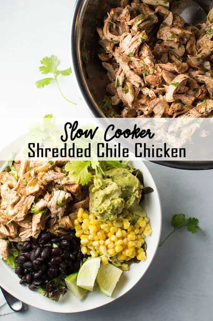 Slow Cooker Shredded Chile Chicken on a Salad Pin