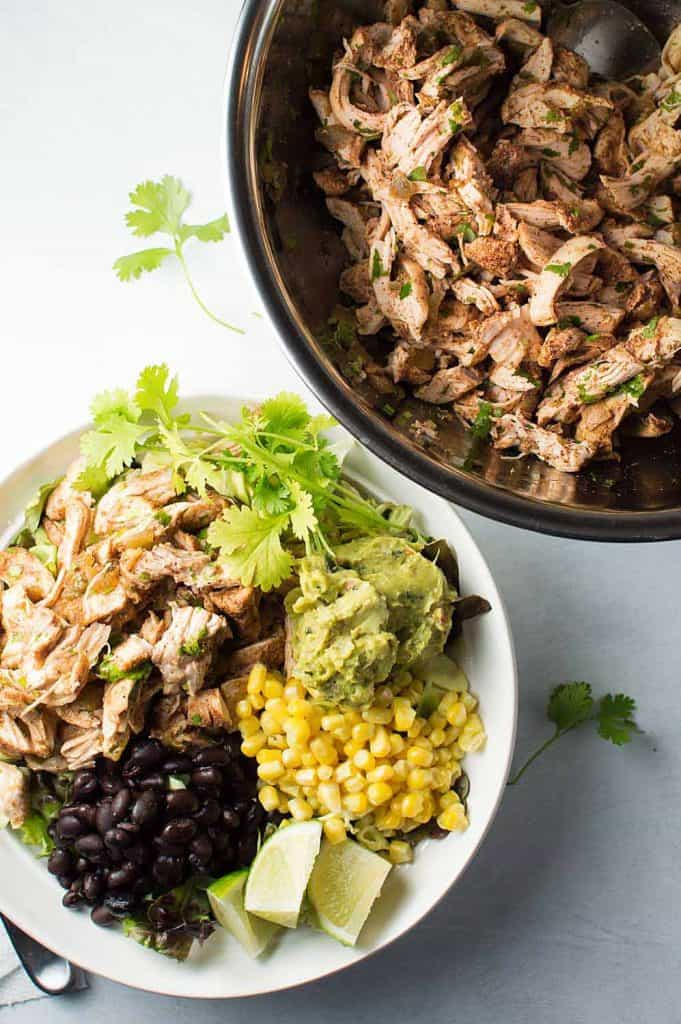 Slow Cooker Shredded Chile Chicken on a Salad