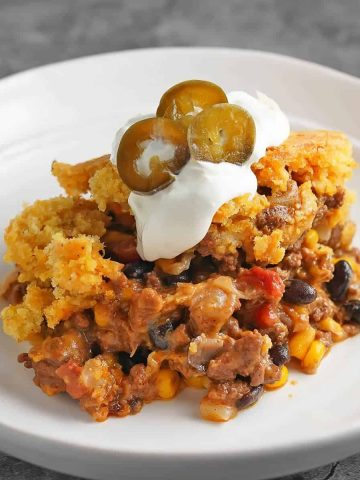 Cheesy Chili Cornbread Casserole on a Plate