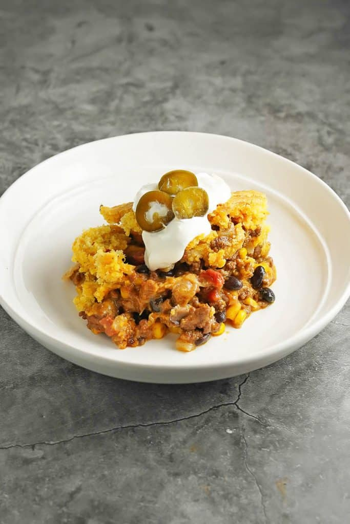 Cheesy Chili Cornbread Casserole on a Plate 2
