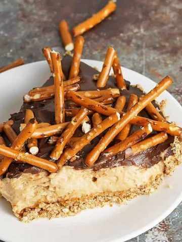 Chocolate Peanut Butter Pretzel Pie on white plate