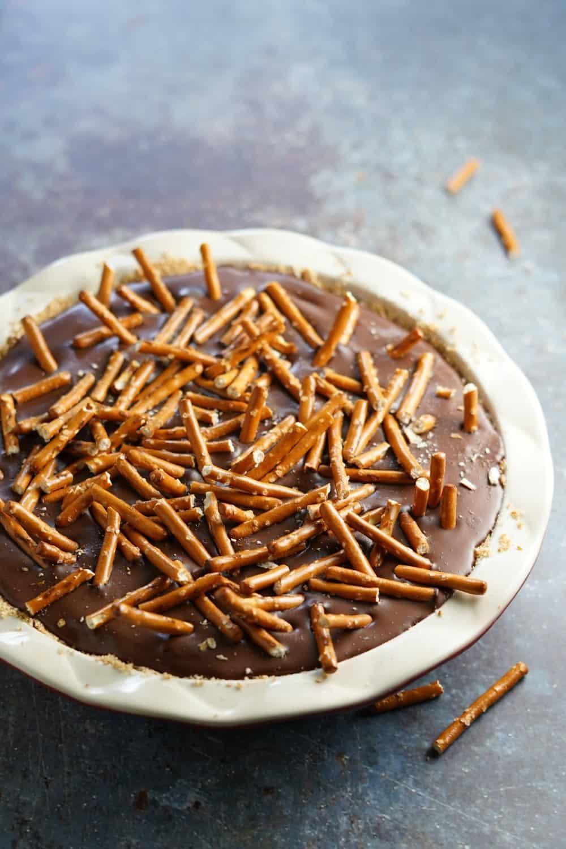 Chocolate Peanut Butter Pretzel Pie in pie pan