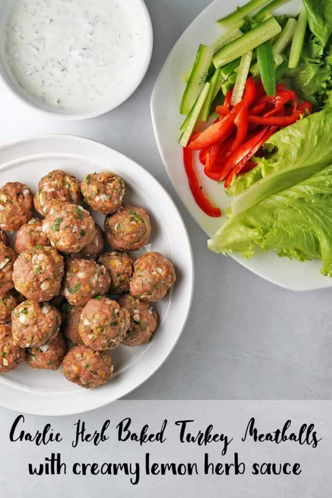 Garlic Herb Baked Turkey Meatballs Pin