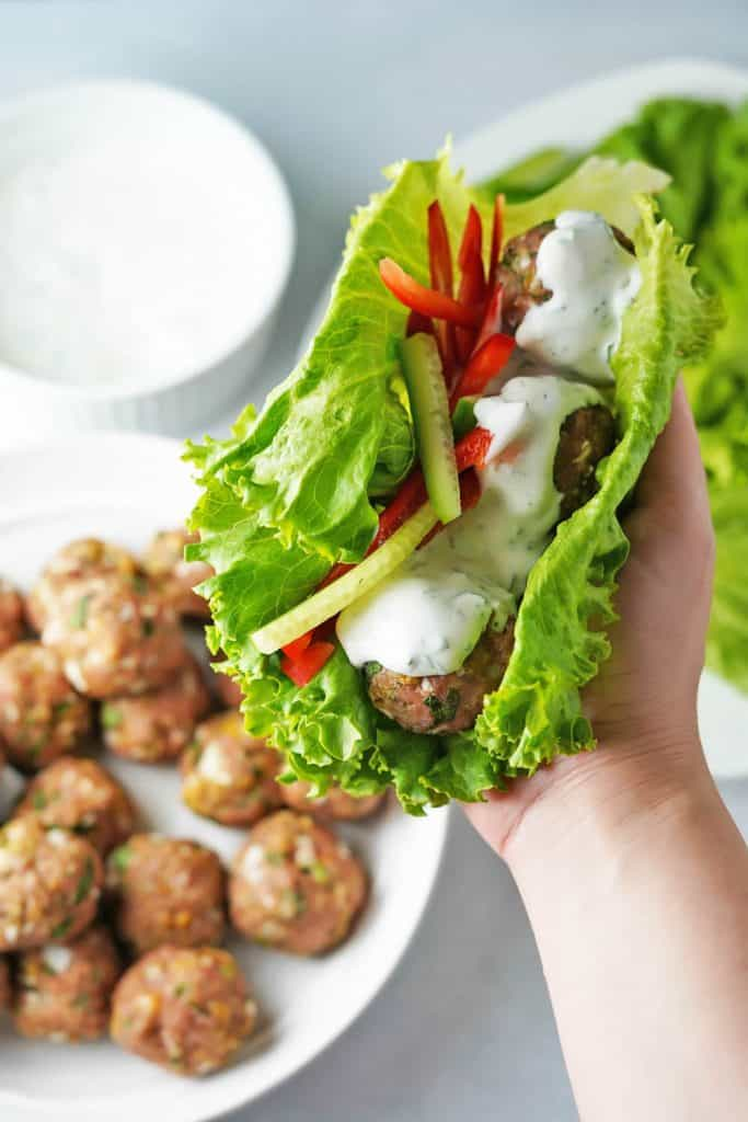 Garlic Herb Baked Turkey Meatballs in Lettuce Wrap