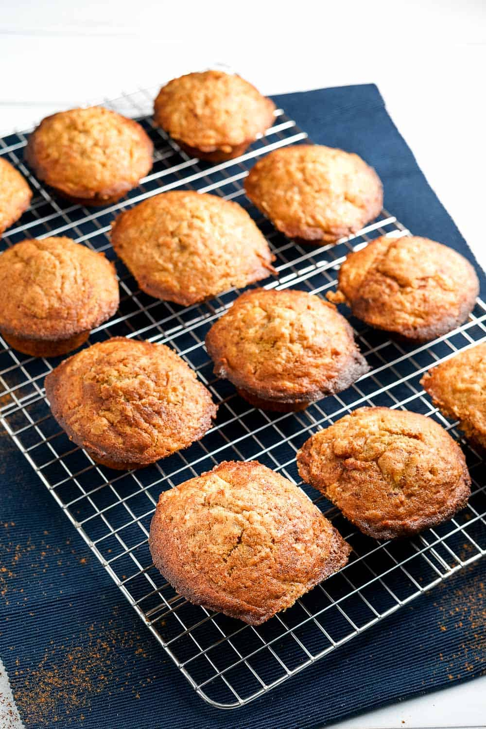 Brown Butter Apple Muffins on Cooling Rack