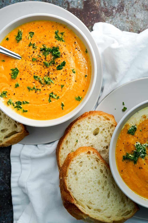 Carrot Pumpkin Apple Soup in 2 Bowls