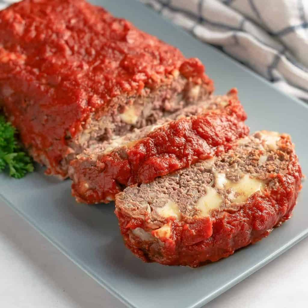 Italian Meatloaf on a Platter Close Up