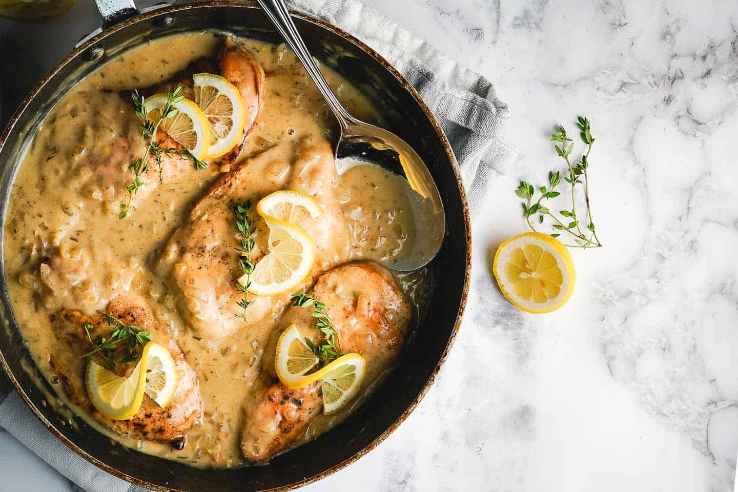 Lemon Butter Chicken in Pan