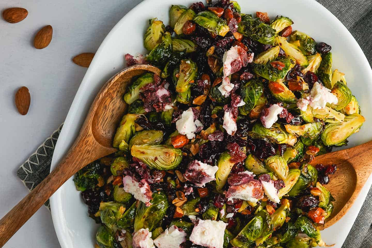 Brussels Sprout Salad with Cranberries Close Up view