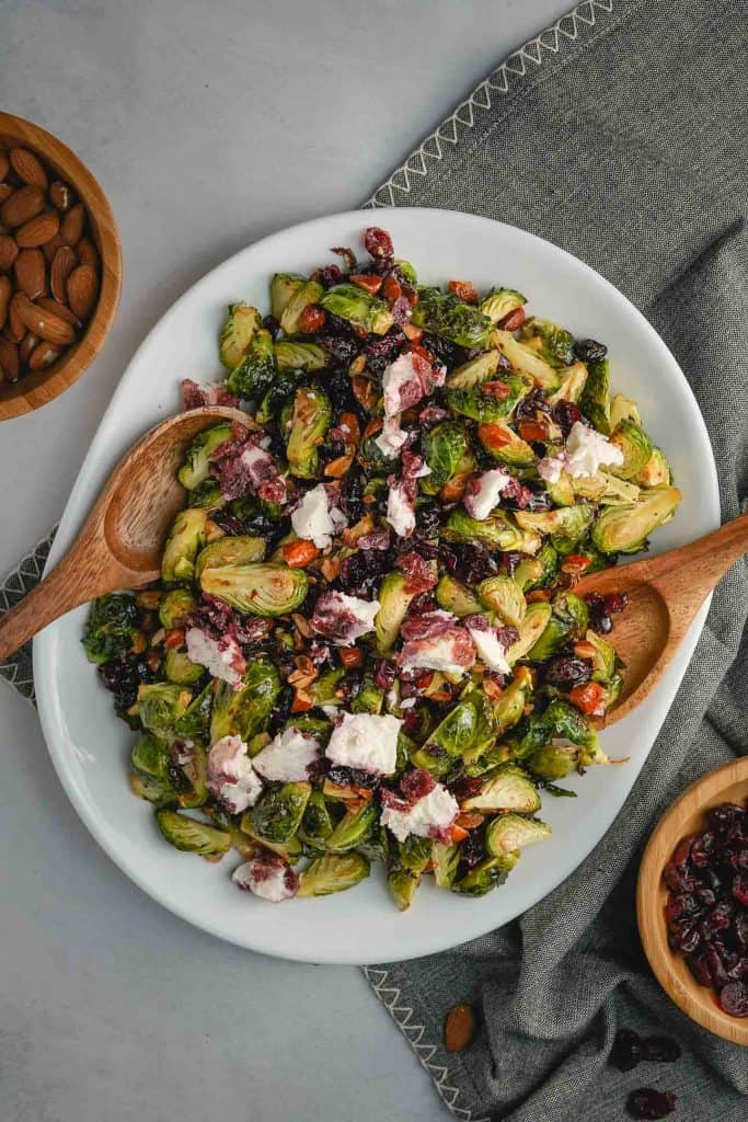 Brussels Sprout Salad with Cranberries on Platter