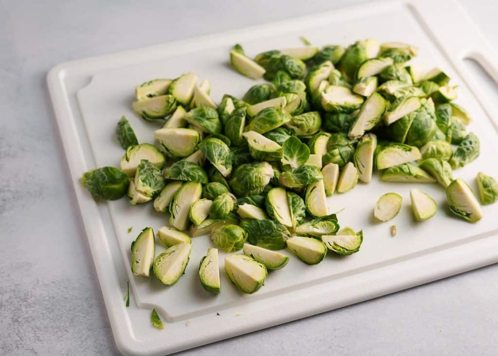 Brussels Sprouts Cut into Quarters