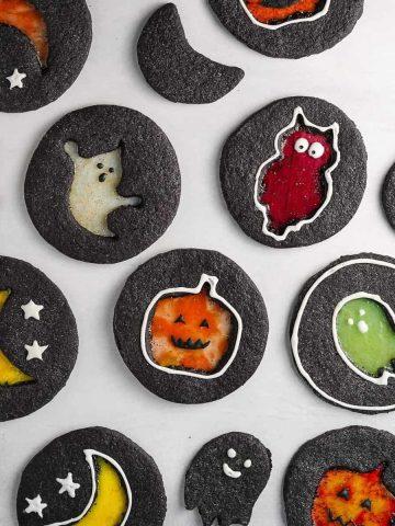 Halloween Windowpane Cookies Featured Image