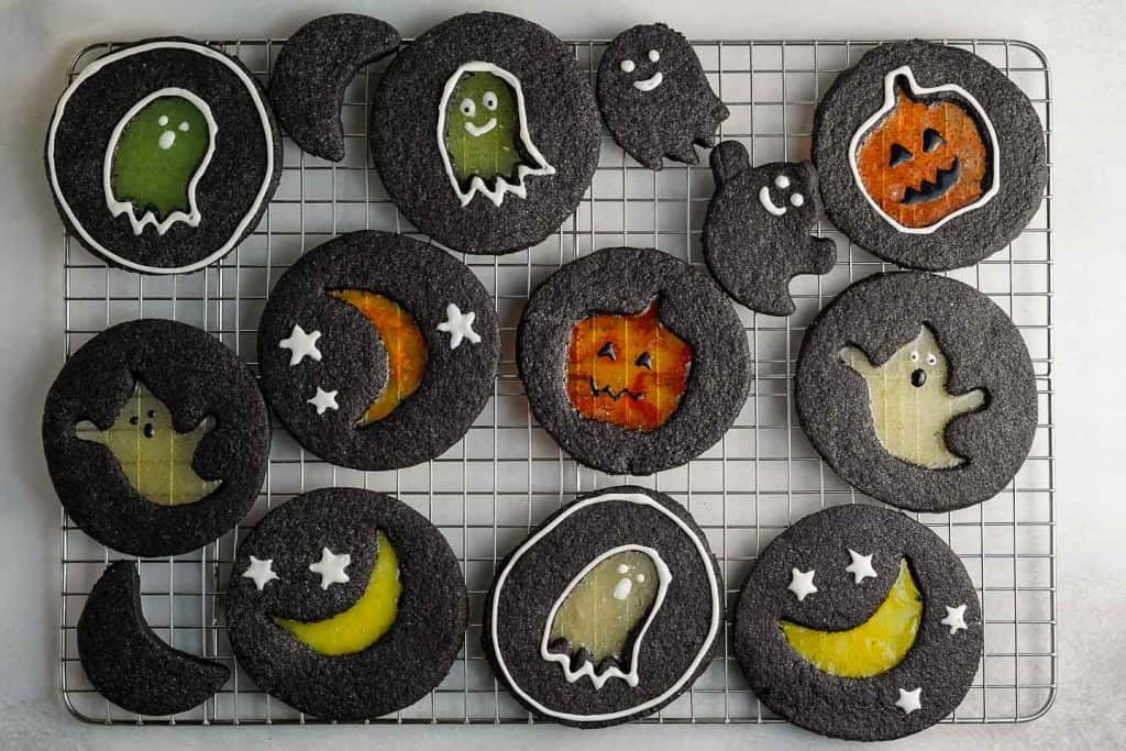 Halloween Windowpane Cookies on Cooling Rack