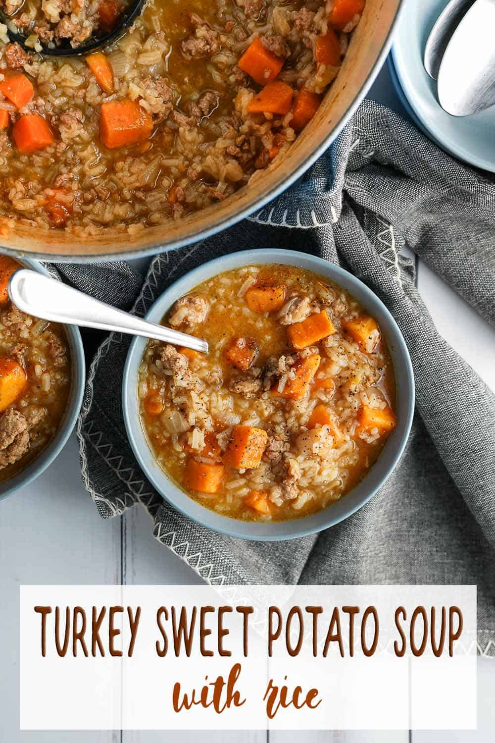 Turkey Sweet Potato Soup in bowl with pot on the side
