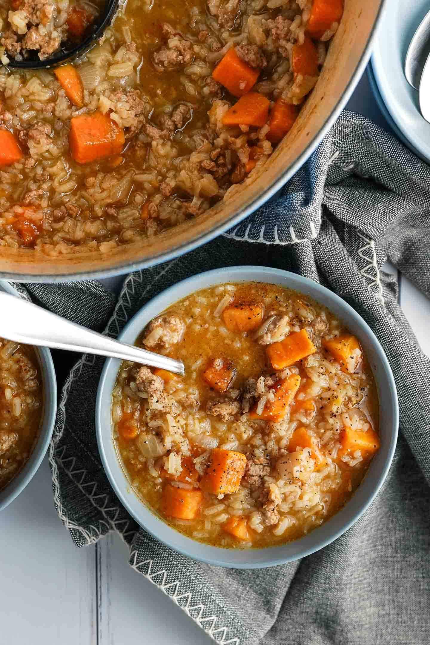 Turkey Sweet Potato Soup in a Bowl