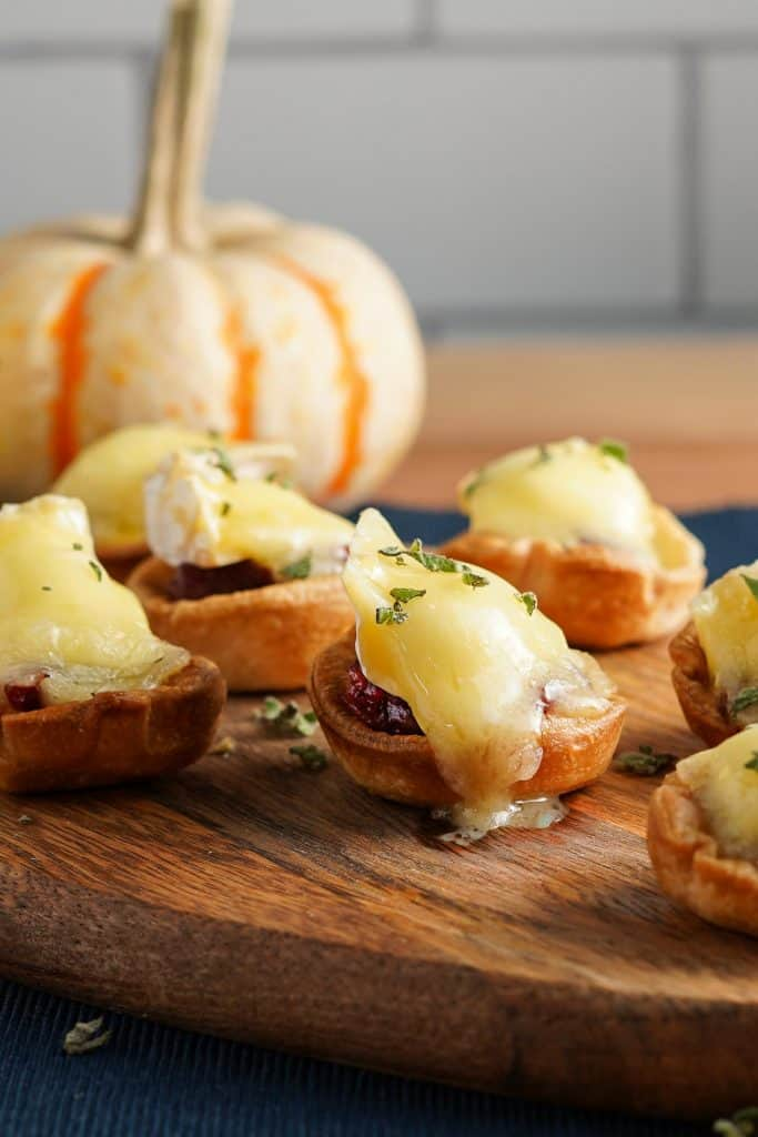 Cranberry Brie Tarts on Wooden Tray