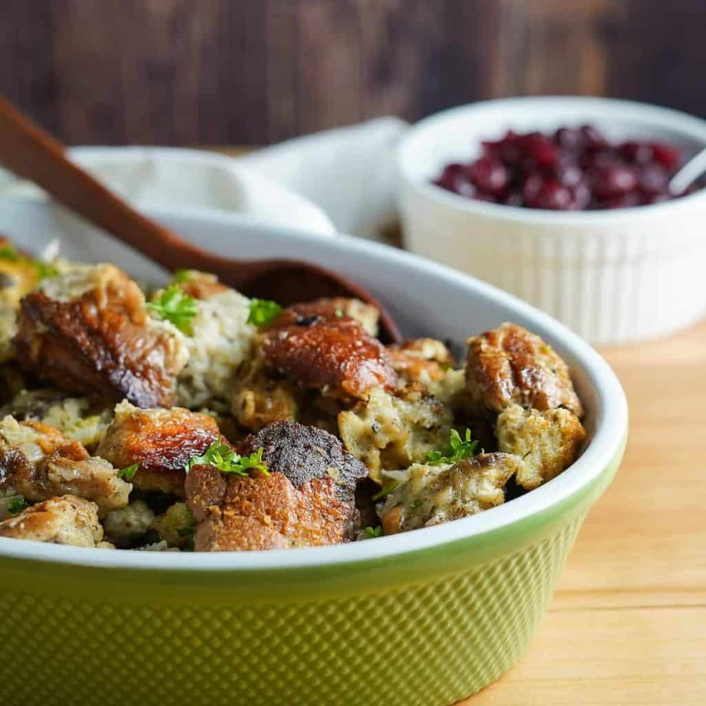 Crock Pot Stuffing in Serving Dish Close Up