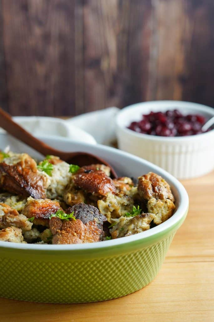 Crock Pot Stuffing in Serving Dish