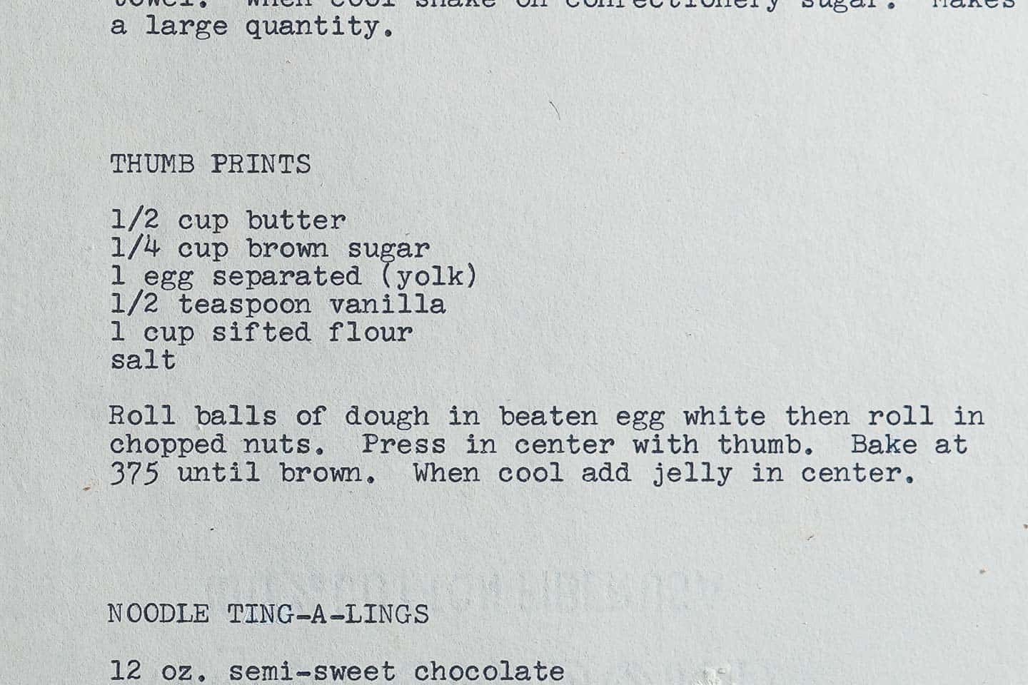 Old Thumb Print Cookie Typed Recipe
